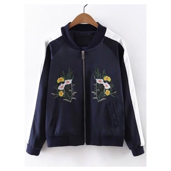 Jackets & Blazers - FLORAL EMBROIDERED BOMBER JACKET